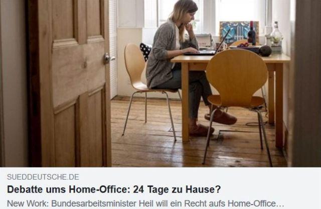 Facebook-Post der Süddeutschen Zeitung. Frau an einem Küchentisch mit Laptop und Unterlagen.