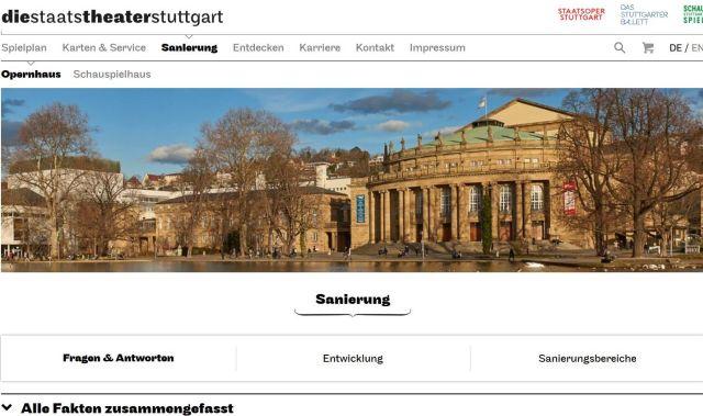 Screenshot aus der Internet-Seite der Staatstheater Stuttgart. Blick auf das Gebäude von 1912.