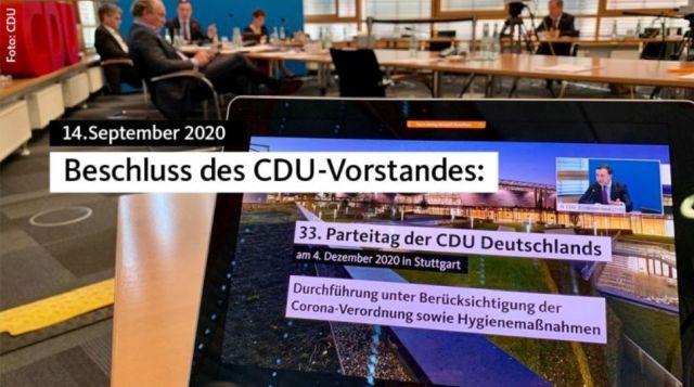 Screenshot aus der CDU-Internetseite mit dem Hinweis zum CDU-Parteitag am 4. Dezember 2020 in Stutgart.