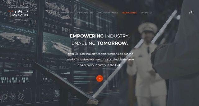 Screenshot aus der Internetseite des Tawazun Economic Councils. Hier wird auf die Aktivitäten im Rüstungsbereich Bezug genommen.