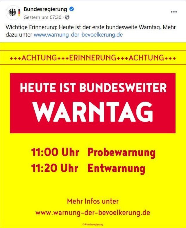 Hinweis der Bundesregierung in roter und gelber Farbe zum Warntag mit 11 Uhr als Beginn.
