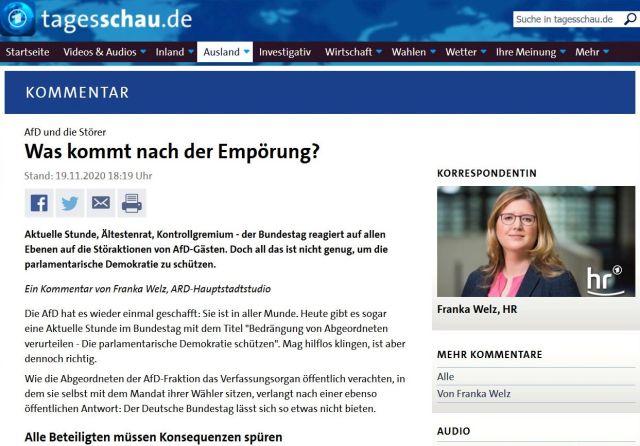 Screenshot aus tagesschau.de mit einem Kommentar von Franka Welz.