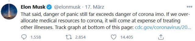 Tweet von Elon Musk: Die Mittel gegen Corona seien eine Fehlallokation.