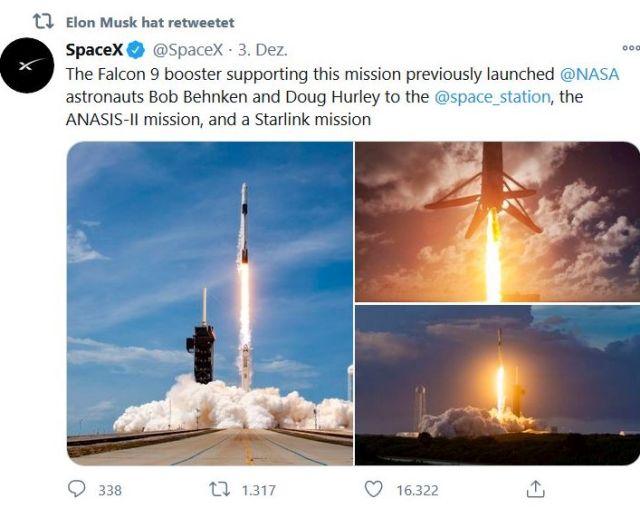 Tweet von Space X mit startenden Raketen, den Elon Musk retweetet hat.