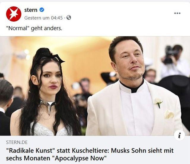 Elon Musk und die Sängerin Grimes in Abendgadarobe in einem Tweet der Zeitschrift Stern.