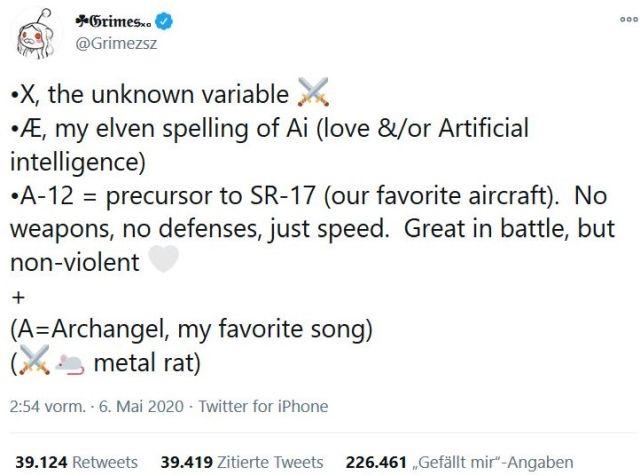 Tweet mit dem Versuch der Sängerin Grimes, den Namen ihres gemeinsamen Kindes zu entschlüsseln. Dieser lautet: X Æ A-12.