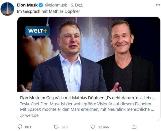 Elon Musk und Mathias Döpfner anlässlich der Verleihung des Axel Springer Awards in einem Tweet.