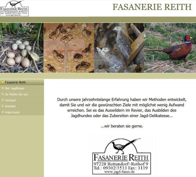 Werbung einer Fasanerie im Internet: Sie liefert Fasane für die Jagd.