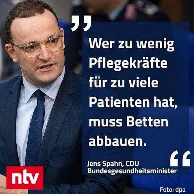 """Im Bild einer ntv-Meldung ist Jens Spahn mit dem Text zu sehen: """"Wer zu wenig Pflegekräfte für zu viele Patienten hat, muss Betten abbauen."""" Das Zitat stamm vom Oktober 2018."""