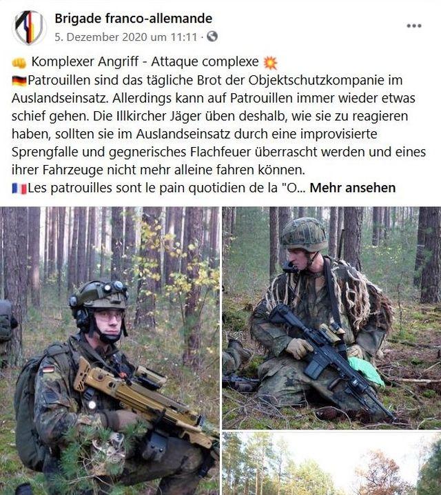 Facebook-Post der Deutsch-französischen Brigade mit Soldaten im Manöver.