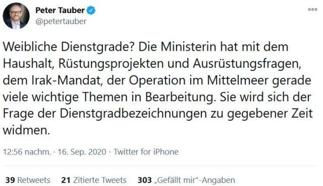 Tweet von Staatssekretär Peter Tauber, in dem er den Vorstoß zurücknimmt, weibliche Rangbezeichnungen einzuführen.