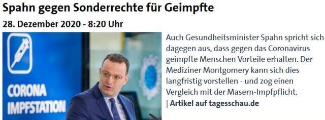 Post der Tagesschau mit Jens Spahn: Er wendet sich gegen Sonderrechte für Geimpfte.