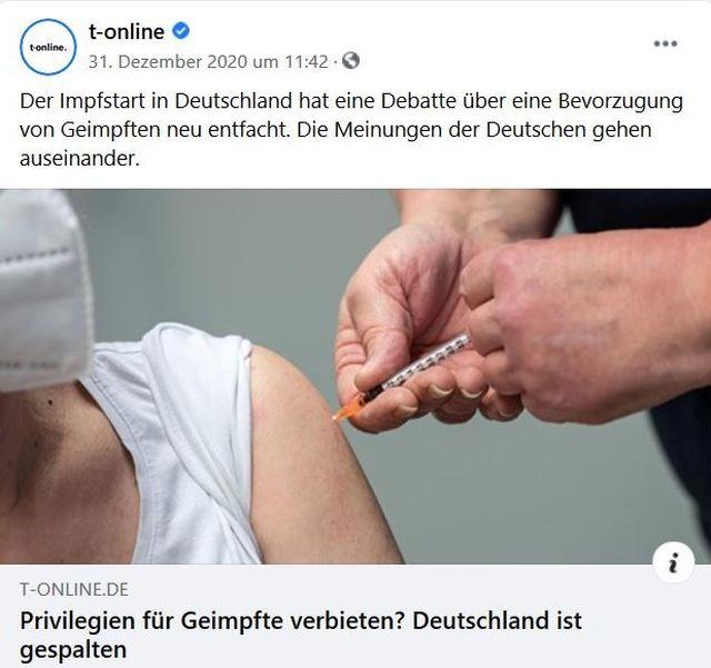 Facebook-Post. Eine Person bekommt eine Injektion in den Oberarm.