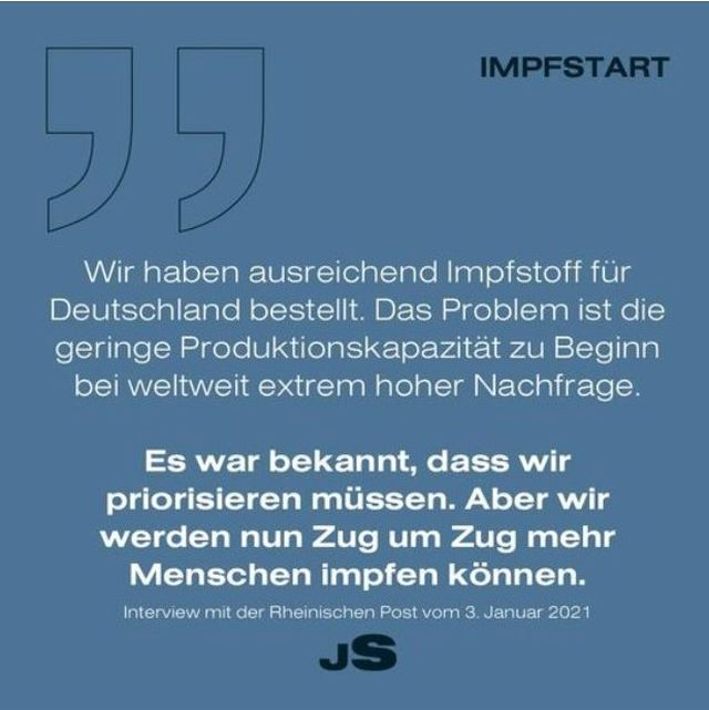 Aussage von Jens Spahn, es sei genügend Impfstoff bestellt worden.