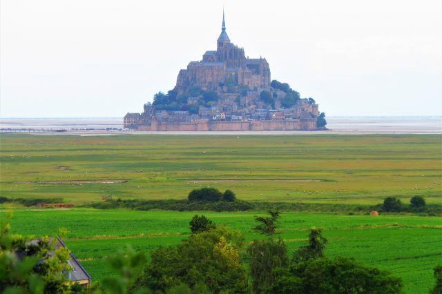 Der Mont-Saint-Michel aus der Ferne. Er scheint bereits von den grünen Schafweiden fast erreicht zu sein.