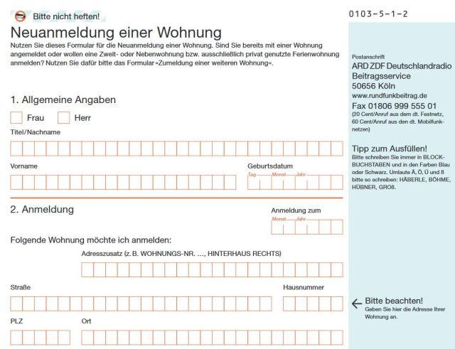 Formular für die Anmeldung einer Wohnung bei der GEZ wegen des Rundfunkbeitrags.
