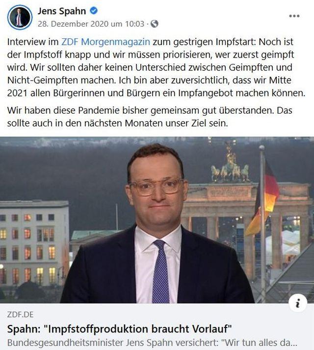 FB-Post von Jens Spahn mit der Aussage, wir seien gut durch die Oandemie gekommen.