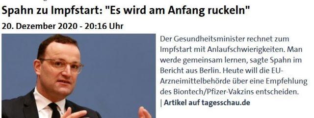 """Jens Spahn in tagesschau.de mit dem Text: """"Es wird am Anfang ruckeln."""""""