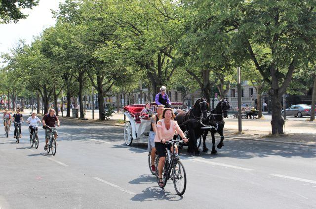 Eine Pferdekutsche mit Passagieren und mehrere Fahrradfahrer auf der Straße unter den Linden in Richtung Brandenburger Tor. In der Mitte der Straße stehen alte Bäume.