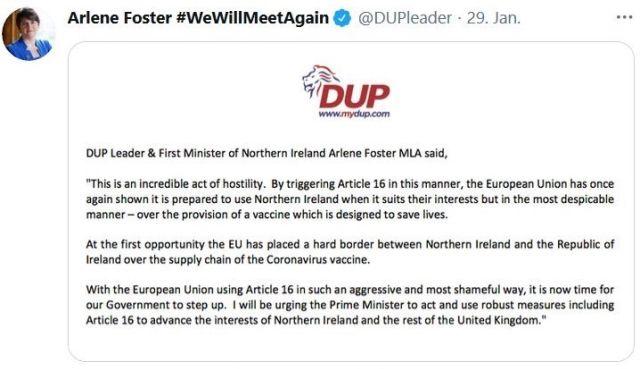 Text der nordirischen DUP in einem Tweet, der sich gegen den Versuch der EU richtet, beim Impfstoff eine harte Grenze zwischen Nordirland und der Republik Irland zu ziehen.