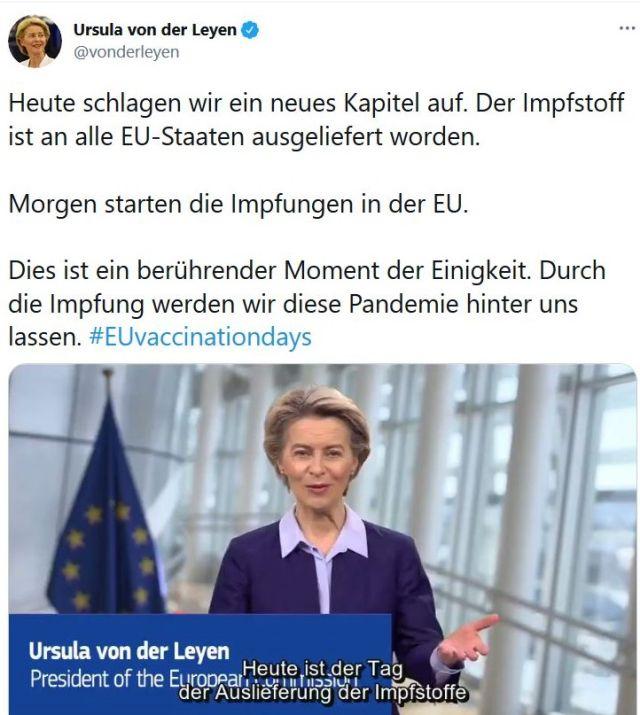 """Tweet von Ursula von der Leyen. """"Heute ist der Tag der Auslieferung der Impfstoffe""""."""