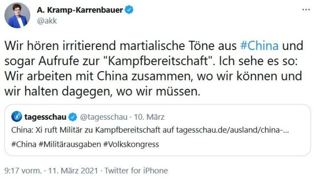 Tweet von Kramp-Karrenbauer. Sie beklagt die Haltung Chinas im Indopazifik und kündigt an, Deutschland werde dagegen halten.