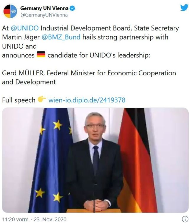 Tweet mit einem Foto von Klaus Jäger mit EU-Fahne und deutscher Flagge. Ankündigung, dass die Bundesregierung Gerd Müller als UNIDO-Chef vorschlägt.