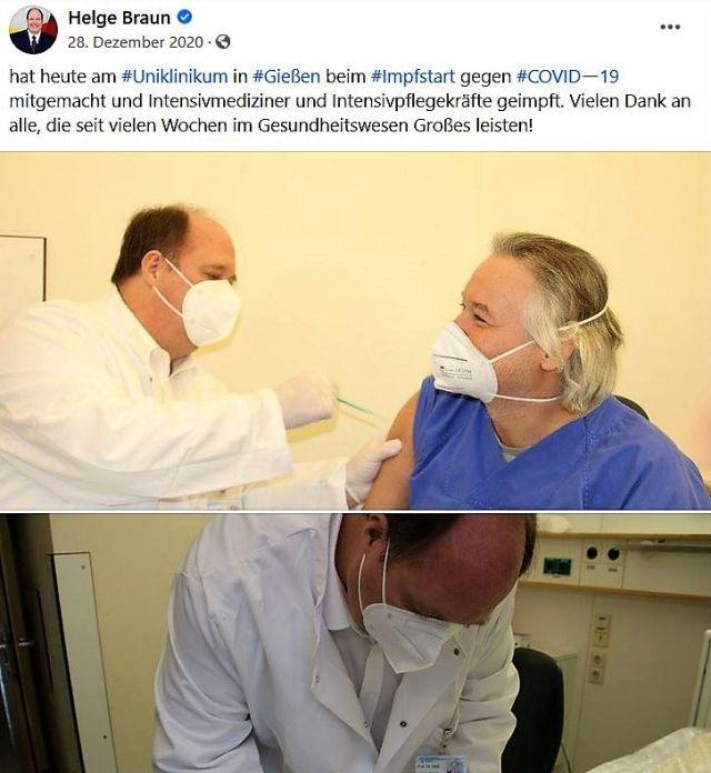 Minister Helge Braun im weißen Arztkittel. Er setzt gerade eine Spritze gegen Covid-19.
