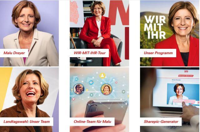 Screenshot aus SPD-Internetseite. Die erste Seite völlig belegt mit Fotos von Malu Dreyer.