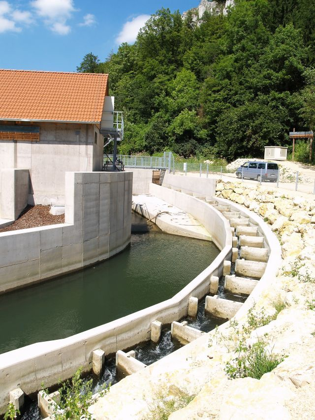 Fischtreppe an einem kleineren Kraftwerk.