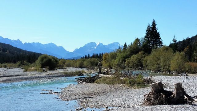 Ein Wildfluss, die Isar. Geröll im Flussbett, der Fluss mäandert, im Hintergrund die Zugspitze.
