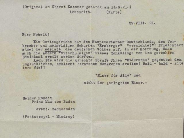 Maschinenschriftlicher Brief an Prinz Max von Baden. Androhung der Ermordung.