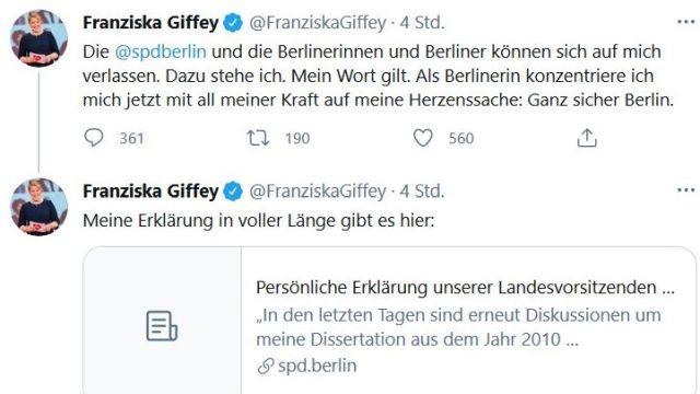 Tweet von Franziska Giffey mit ihrer Rücktrittserklärung. Sie werde sich jetzt auf Berlin konzentrieren.