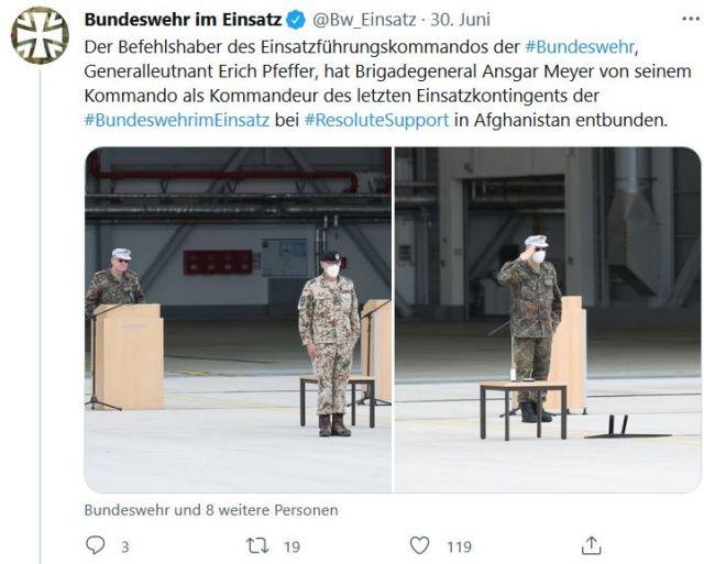 Ein Tweet der Bundeswehr mit einem Foto, das beim Empfang für die zurückkehrenden Soldaten aufgenomen wurde.